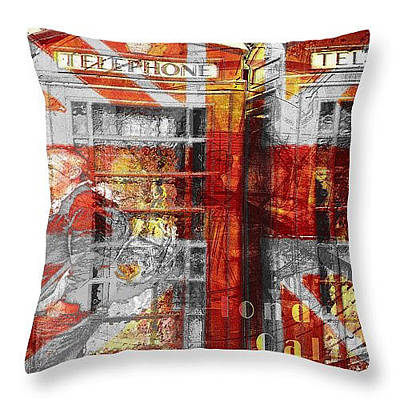 Digital Art - London's Calling Throw Pillow by Fine Art By Andrew David