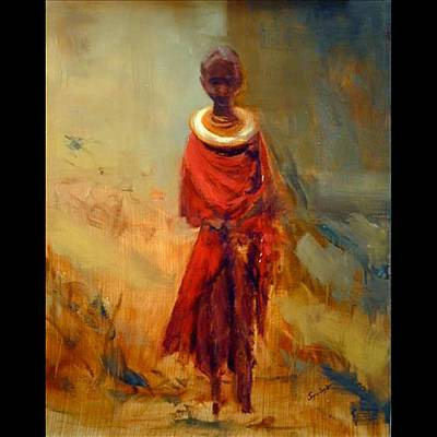 Painting - Lone African Girl by Joyce Snyder