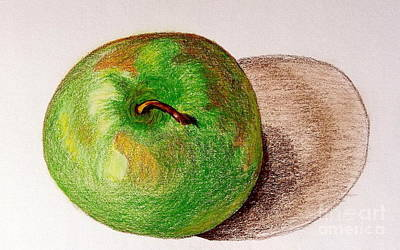 Drawing - Lone Apple by Sheron Petrie
