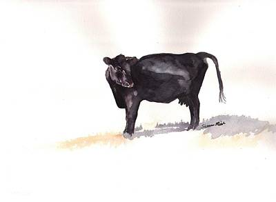 Lone Black Angus Art Print by Sharon Mick