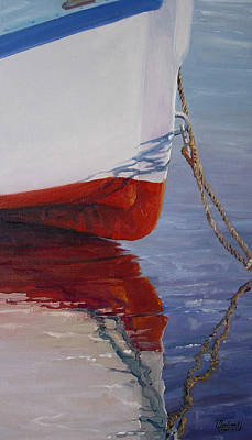 New Orleans Oil Painting - Lone Boat by Michael Cranford