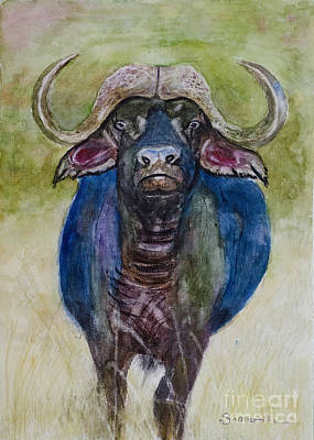 Lone Cape Buffalo Art Print by Samanvitha Rao