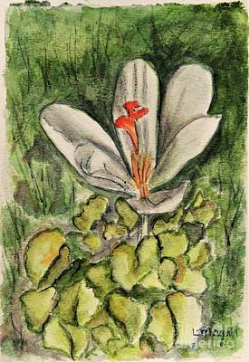 Painting - Lone Crocus by Laurie Morgan