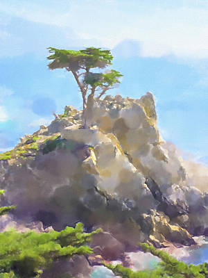 Painting - Lone Cypress Painting by Lutz Baar