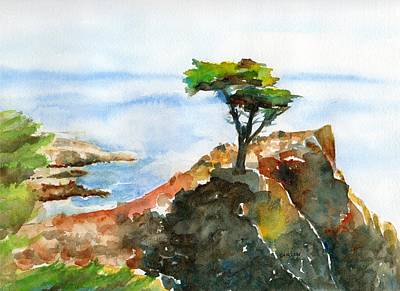 Painting - Lone Cypress Pebble Beach Fog by Carlin Blahnik CarlinArtWatercolor