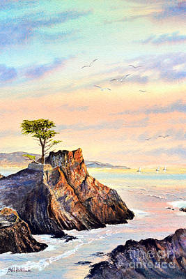 Pacific Grove Painting - Lone Cypress Tree Pebble Beach by Bill Holkham