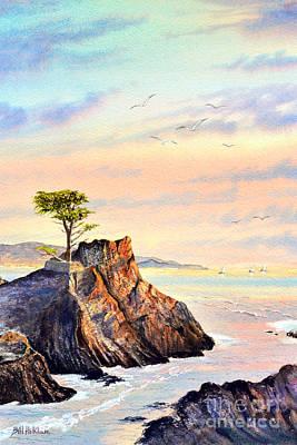 Lone Cypress Tree Pebble Beach Print by Bill Holkham