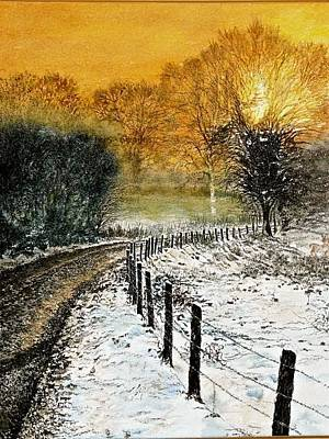 Painting - Lone Deer At Sunset by SJV Jeffery-Swailes