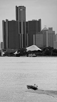 Photograph - Lone Detroit River Boat Flying The American Flag by Rexford L Powell