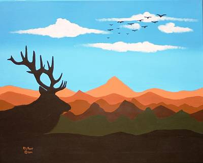 Painting - Lone Elk Silhouette by Ralph Root
