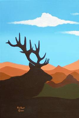 Painting - Lone Elk Silhouettes by Ralph Root