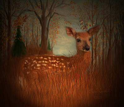 Whitetail Fawn Painting - Lone Fawn by Kevin Caudill