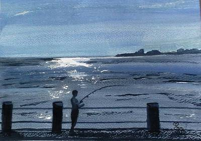 Painting - Lone Fisherman On Worthing Pier by Carole Robins