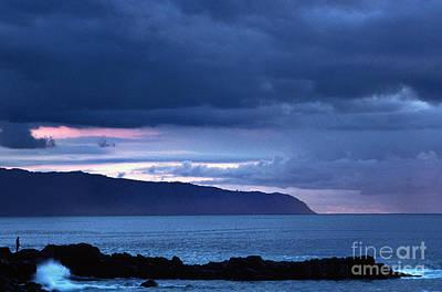 Aloha For Days - Lone Fisherman Stormy Sundown by Thomas R Fletcher