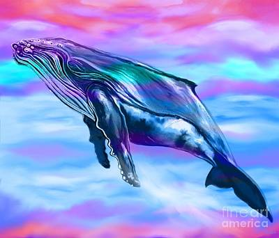 Digital Art - Lone Humpback Whale  by Nick Gustafson