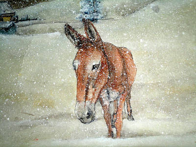 Art Print featuring the painting Lone Mule by Debbi Saccomanno Chan