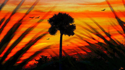 Highwaymen Painting - Lone Palm Florida by David Lee Thompson