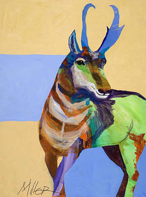 Abstract Wildlife Painting - Lone Pronghorn by Tracy Miller
