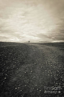 Photograph - Lone Remote Hiker Iceland by Edward Fielding