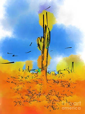 Digital Art - Lone Saguaro Cactus by Kirt Tisdale