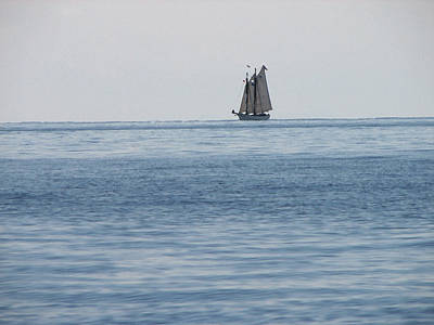 Lone Ship At Sea Art Print by Ginger Howland