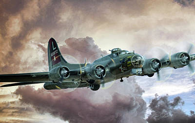 B-17 Wall Art - Digital Art - Lone Star Fortress by Peter Chilelli
