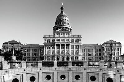 Photograph - Lone Star State Capitol Building Black And White - Austin Texas by Gregory Ballos