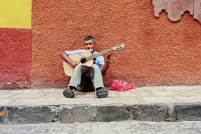 Musicians Royalty Free Images - Lone Street Musician, San Miguel de Allende, MX Royalty-Free Image by Robert McKinstry