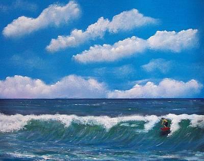 Lone Surfer Art Print by Tony Rodriguez