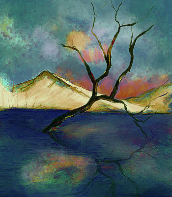 Digital Art - Lone Tree by Annette Berglund