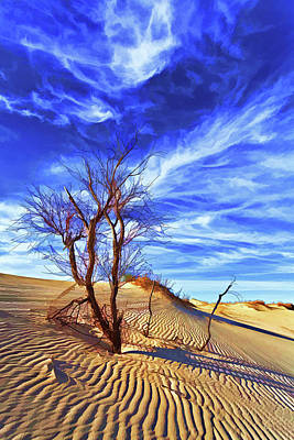 Digitally Manipulated Photograph - Lone Tree At Sandhills by ABeautifulSky Photography by Bill Caldwell