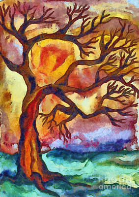 Autumn Landscape Mixed Media - Lone Tree At Sunset by Michal Boubin