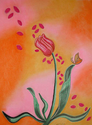 Pastel - Lone Tulip by Christine Perry
