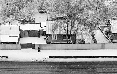 Photograph - Lone Walker And The Snow Fall Village by John Williams