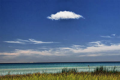 Photograph - Lone White Cloud Over Lake Michigan by Randall Nyhof