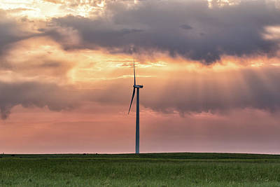Photograph - Lone Wind Turbine At Sunrise by Tony Hake