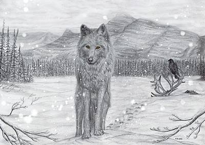 Snowy Trees Mixed Media - Lone Wolf by Philip Harvey