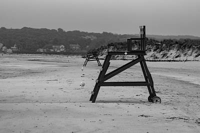 Photograph - Lonely Beach Day Black And White by Brian MacLean
