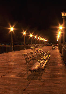 Photograph - Lonely Benches On The Pier  by Bonnie Follett