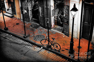Lonely Bike On Bourbon Fusion Print by John Rizzuto