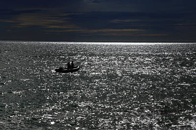 Photograph - Lonely Boat On A Sparkly Sea by Nareeta Martin