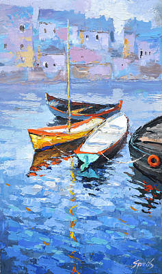 Painting - Lonely Boats  by Dmitry Spiros