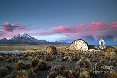 Lonely Church Sajama Volcano And Stormy Altiplano Skies Bolivia Art Print