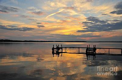 Lonely Dock On Painted Waters Print by Terri Gostola