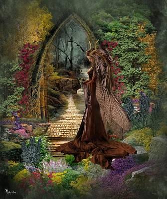 Pathway Digital Art - Lonely Garden by Ali Oppy