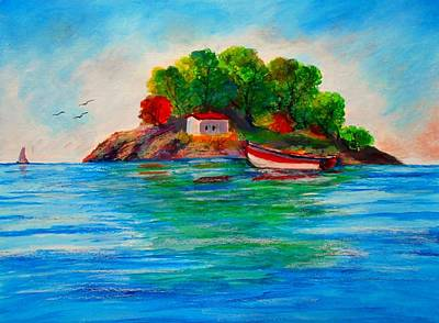 Painting - Lonely Island In Greece by Constantinos Charalampopoulos