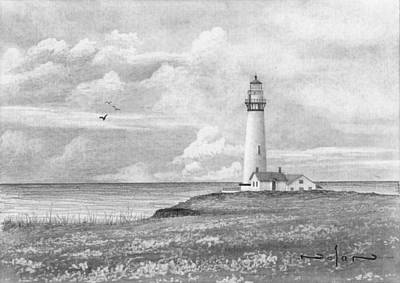 Drawing - Lonely Lighthouse by Nolan Clark