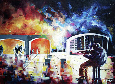 Music Themed Art Painting - Lonely Night by Zlatko Music