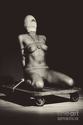Photograph - Lonely - Nude Woman Tiedup Up by William Langeveld
