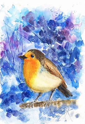 Painting - Lonely Robin by Asha Sudhaker Shenoy